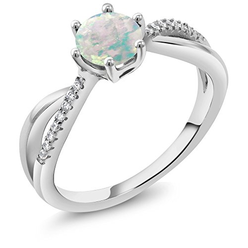 0.84 Ct Round Cabochon White Simulated Opal 925 Sterling Silver Ring (Available in size 5, 6, 7, 8, 9)