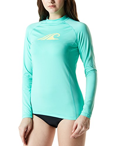 TSLA Women's UPF 50+Swim Shirt Rashguard Long Sleeve FSR Series, Coastal Tide Print(fsr24) - Magic Mint, X-Large