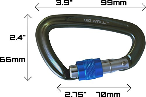 Big Wall Traverse UIAA Certified 25kn Aluminum Carabiners Screw Lock, Straight Gate or Bent Gate
