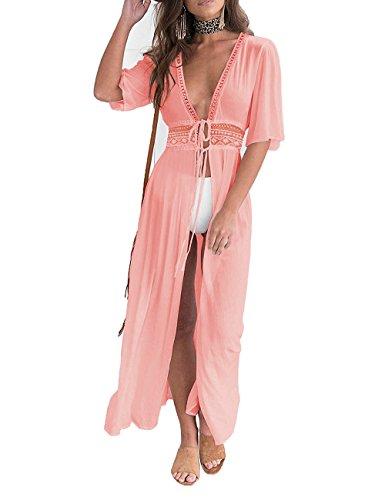 luvamia Women's Pink Open Front Bikini Cover up Short Sleeves Long Maxi Beach Dress Swimwear Kimono Swimsuit Size (Short Sleeve Open Tie)
