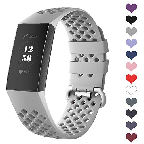 DEKER Sport Bands Compatible for Fitbit Charge 3 Bands and Charge 3 SE Fitness Tracker Women Men, Breathable Holes Silicone Smart Watch Strap Small Large Accessories Wristbands (Gray, Medium)