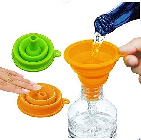 MEIJUBOL Embudo plegable grueso juego de 2 embudos de cocina plegables de silicona sin BPA con boca ancha para botella de agua, proteína líquida en ...