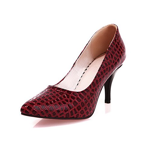 Pattern High Patent Red WeenFashion Leather Toe Alligator Shoes with Pumps Heels Closed Women's 4PRwnRSBq