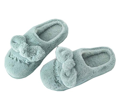 Autumn Winter Breathable Indoor/Outdoor Slippers,Lovely Warm Slippers - Green