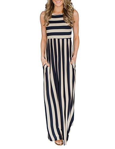 MIROL Womens Summer Sleeveless Striped Color Block High Waist Beach Maxi Dress with Pockets