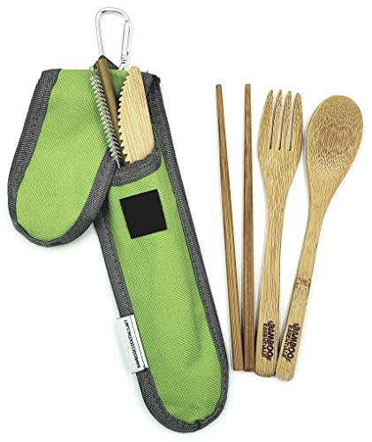 - Bamboo Travel Utensil Set, Summer Green | Bamboo Fork, Knife, Spoon, Chopsticks, Straw, Straw-cleaning brush, Travel Pouch and Carabiner | Excellent For Everyday Use! by Bamboo Essentials