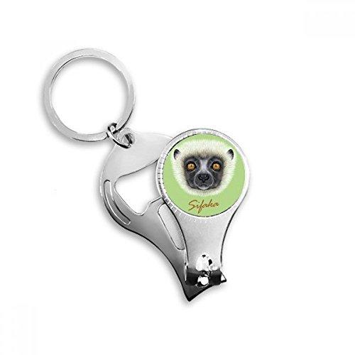 White Fluffy Sifaka Monkey Animal Nail Clipper Key Chain Ring Cutter Tool Bottle Opener