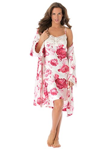 Amoureuse Women's Plus Size Short Satin Peignoir Set Ivory Roses,4X