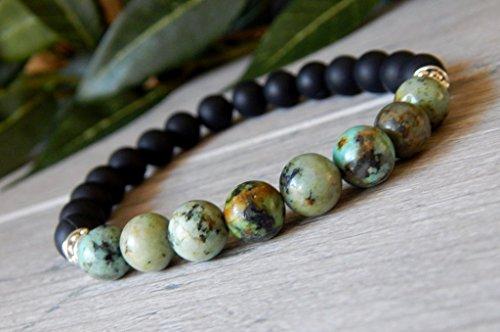 African Turquoise and Black Onyx Mens Beaded Boho Gemstone Bracelet