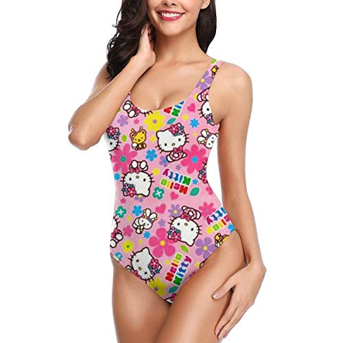 Women's Classic One Piece Swimsuit Hello Kitty Printed Training Swimwear Bathing Suits -