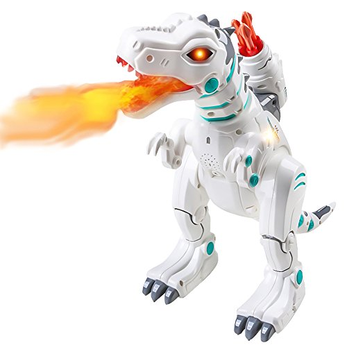 Hi-Tech Wireless Remote Control Robot Dinosaur Interactive RC Robot Toy Sings, Dances, Sprays Mist, Launches Missiles, Teaches Language and Knowledge (White)