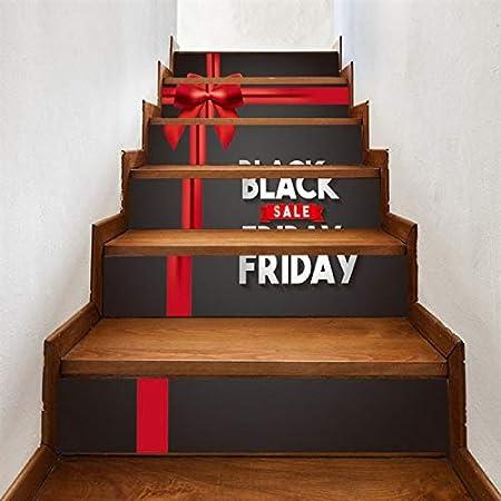 libby-nice Black Friday DIY Creativo Decoración De La Pared Escalera 3D Vinilo Etiqueta Engomada De