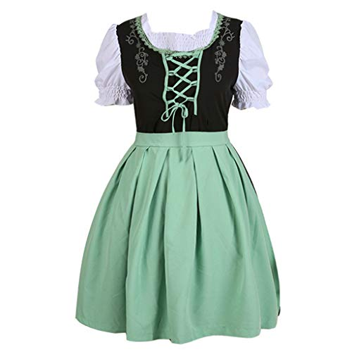 Women Oktoberfest Costume Girl Bavarian German Dirndl Maiden Dress Carnival Halloween Cosplay Party Waitress Clothes (M, Green) -