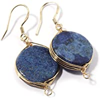 Natural Stone Wire Wrap Dangle Drop Earrings Gold Plated 925 Sterling Silver Hook/Lapis Lazuli Round 16mm