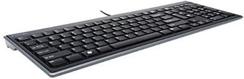 Kensington 948067 Advance Fit - Teclado Fino y Silencioso con Cable de Tamaño Normal, con Teclas Multimedia para Control del Volumen y Funcionamiento ...