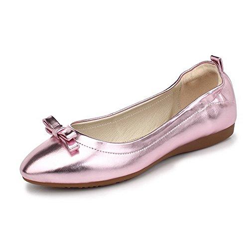 Damen Ohne Absatz Rein Ziehen auf Weiches Material Spitz Zehe Flache Schuhe, Grün, 37 VogueZone009