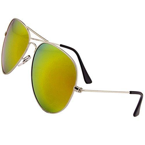 Sumery Unisex Metal Fashion Aviator Sunglasses Women Men UV400 (Gold, - Gaga Lady Sunglasses Versace