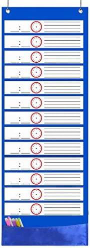luosh Pocket Chart, Tagesablauf von Office Home, 26 doppelseitige Wiederverwendbare Radiergummikarten