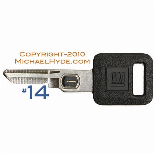 595524 GM VATS Key - Single Sided #14 Strattec, Buick, Cadillac, Chevy, Olds, Pontiac