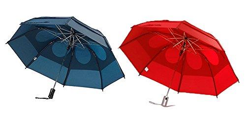 Gustbuster Metro Wind Resistant Umbrellas 2 Pack Bundle, Navy and (Gustbuster Umbrella)