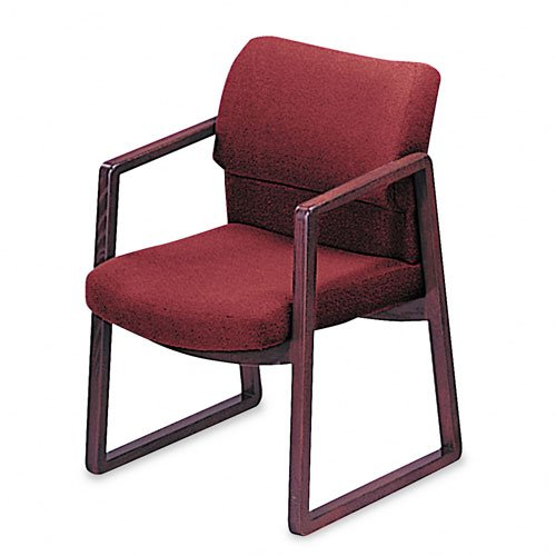 Multimedia Mobile Workstation - HON 2403NAB62 2400 Series Guest Arm Chair, Mahogany Finish, Burgundy Fabric