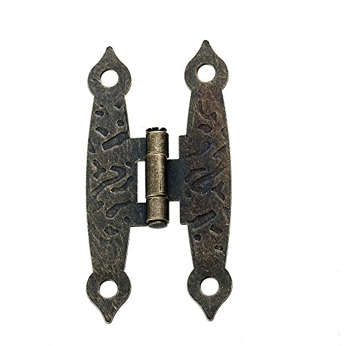 Iron Based Alloy Door Cabinet Drawer Wooden Box Butt Hinges Rectangle Antique Bronze Rotatable 65mm(2 4/8) x 20mm(6/8), 5 Pcs Yang Bee