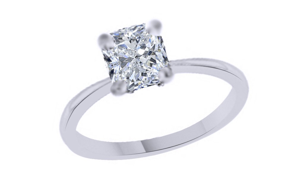 Jewel Zone US Cushion Cut White Cubic Zirconia Anniversary Solitaire Ring in 14k White Gold Over Sterling Silver (2 Carat)