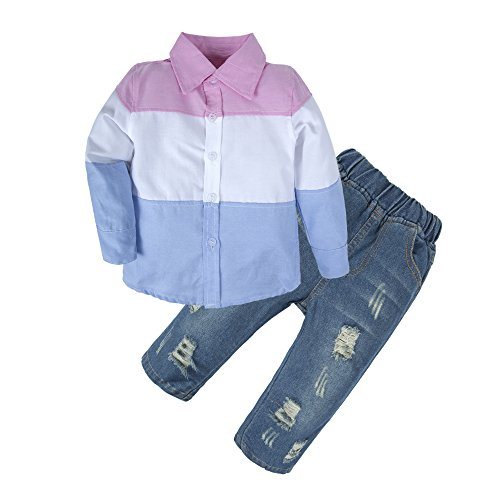 BIG ELEPHANT Kid Boys'2 Pieces Fashion Long Sleeve Shirt Jeans Clothing Set U15-110 2-3 Years