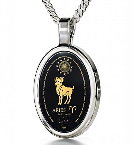 "Nano Jewelry 925 Silver Zodiac Pendant Aries Necklace Inscribed in 24k Gold on Onyx Stone, 18"""