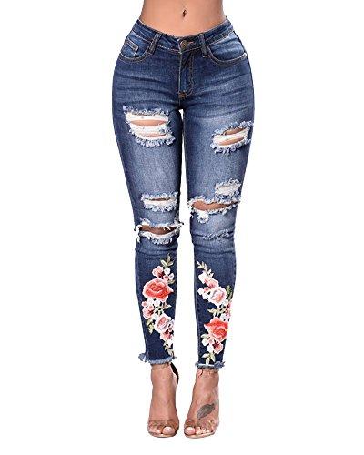 ZhuiKunA Mujer Cintura Alta Jeans Stretch Vaqueros Rosas Bordado Cruzado de Lápiz de Agujero Azul Marino