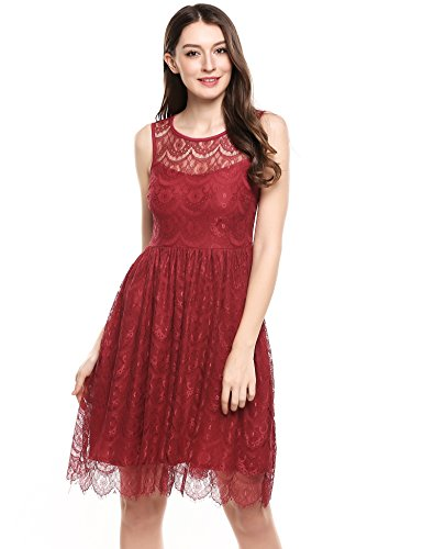 [ACEVOG Women's Sleeveless A Line Pleated Sexy Lace Cocktail Party Dress,Wine Red,XX-Large] (70s Look For Women)