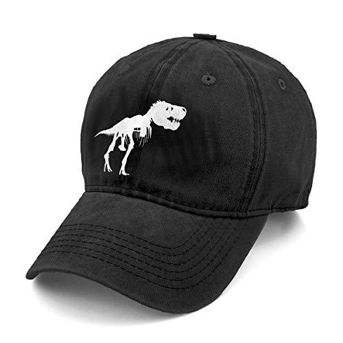 Unisex T Rex Skeleton Dinosaur Denim Hat Adjustable Washed Dyed Cotton Dad Baseball Caps (One Size, Black 1)