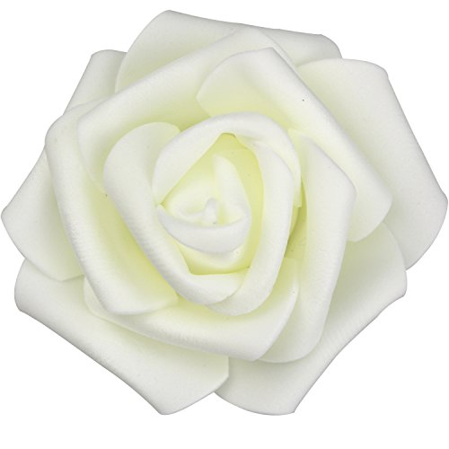 - Lightingsky 7cm DIY Real Touch 3D Artificial Foam Rose Head Without Stem for Wedding Party Home Decoration (100pcs, Milky)