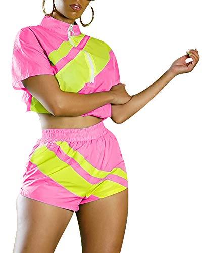 2 Piece Outfits Tracksuit Short Sleeve Mock Neck Zip Up Bodycon Jumpsuit Short Pants Set Fuchsia M
