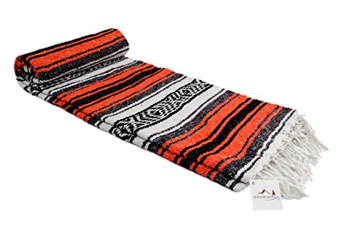 Open Road Goods Orange and Black Mexican Falsa Blanket - Great for The Beach, Picnics, Yoga, or a Throw! Handwoven Colors of Halloween -