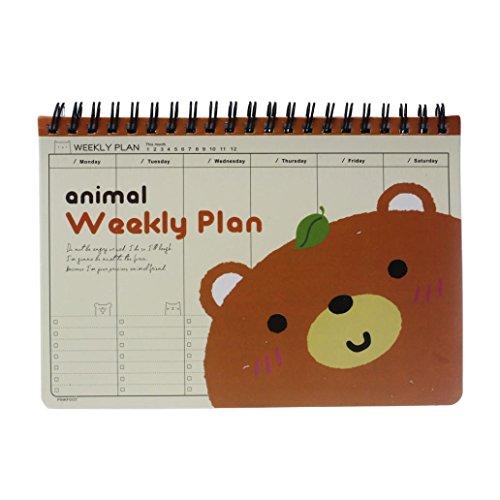 Cute Planner Joopee Cute Kawaii Bear Diary Weekly Planner Agenda Notepad Notebook Cute Brown