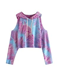 OCEAN-STORE Women's Long Sleeve Hooded Pullover Tie-Dye Printed Off Shoulder Sweatshirt Tops