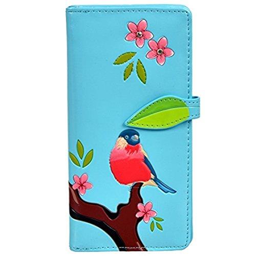 Shag Wear Women's Large Zipper Wallet Red Chested Bird Sky Blue