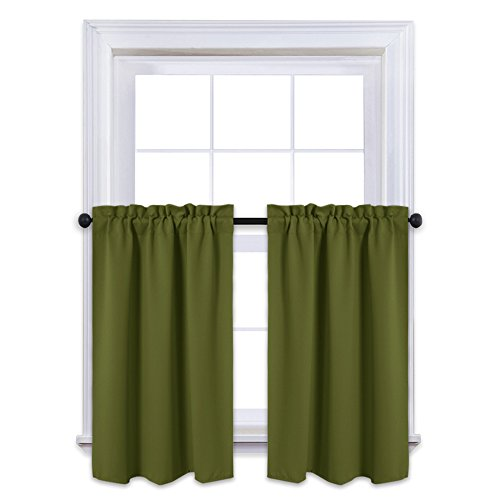 """NICETOWN Window Blackout Curtains - Rod Pocket Tailored Tier/Valance/Cafe Curtains For Kitchen (1 Pair, 29"""" Width by 36"""" Length, Olive)"""