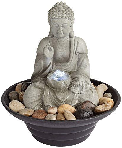 (John Timberland Asian Zen Sitting Buddha Indoor Table-Top Water Fountain with Light LED 10