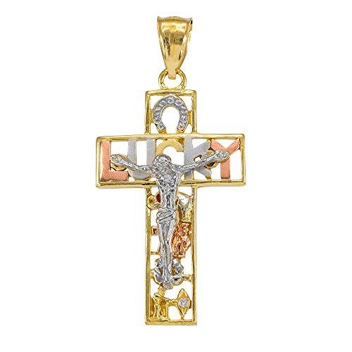 Homme Collier Pendentif Bicolore 14 Ct Or Jaune Chanceux Crucifix Oxyde De Zirconium (Livré avec une 45cm Chaîne)