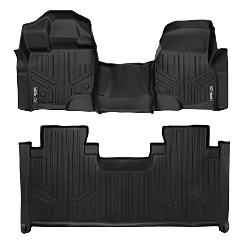 MAXFLOORMAT Floor Mats 2 Row Set Black for 2015-2018 Ford F-150 SuperCab With 1st Row Bench Seat