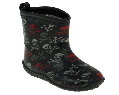 Racer Boot (Capelli New York Shiny Fun Skulls Printed Toddler Boys Racer Body Jelly Rain Boot Black Combo 8/9)