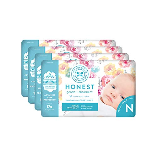 The Honest Company Baby Diapers with TrueAbsorb Technology, Rose Blossom, Size 0 Newborn, 32 count (Pack of 4)
