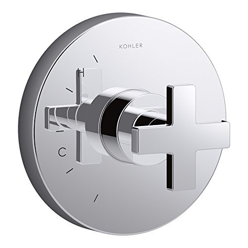 KOHLER K-TS73115-3-CP Composed Valve Trim with Cross Handle For Rite-Temp Pressure-Balancing Valve, Not Included, Polished ()