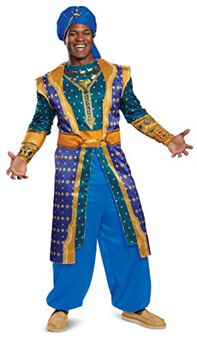 Disguise Men's Genie Deluxe Adult Costume, Blue,