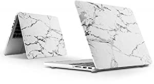 """Plastic Hard Case Shell Cover Case for Mac Book Pro 13"""" 2017 & 2016 Release A1706/A1708 With/without Touch Bar And Touch Id White Marble Pattern"""