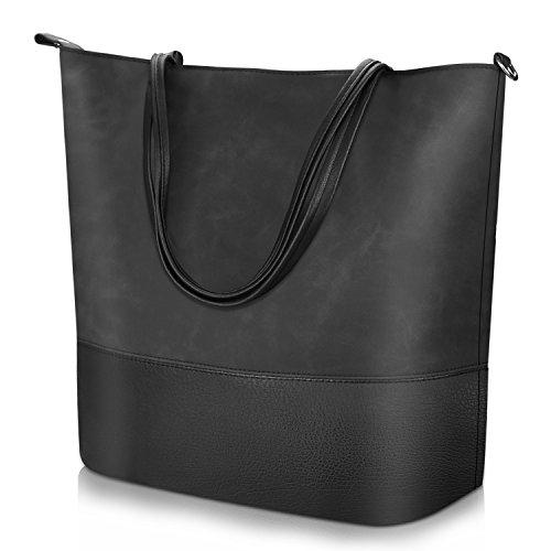 Vintage Style Shoulder Bag for Women, Soft Leather Bag Women Travel Casual Handbag Large Capacity Tote Bag for Women by PROKING