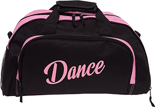 Silver Lilly Womens Nylon Dance Duffel Gym Bag w/Shoe Compartment (Black/Pink, One Size) (Best Shoes For Gym Classes)