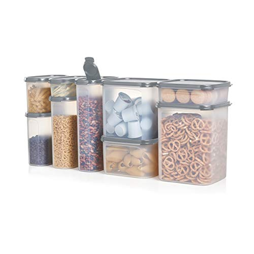 Tupperware Modular Mates Airtight Food Storage Container in Limited Edition Grey - 9 Piece Oval & Square Set